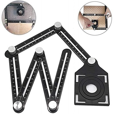 Aluminum alloy multi-function six-fold ruler angle finder universal angler ruler metal Drill Guide Locator Tile Opening Hole angle template tool angle copier for Builders Craftsmen Carpenters - - B07R3C9526