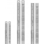 Breman Precision 3 pc Metal Ruler Set - 6 Inch Ruler and 2 pc 12 Inch Stainless Steel Straight Edge Metal Rulers with Inch and Metric Graduation - Conversion Table for School & Office - Steel Rulers Office Products B07D7KXMLW
