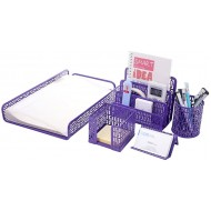 Crystallove Set of 5 Purple Metal Mesh Office Supplies Desktop Organizer Style 1 Office Products B016ZGG0Z6