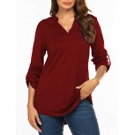 Halife Woman Cuffed 3 4 Sleeve Notch V Neck Casual Work Office Tunic Blouse Wine Red L at Women's Clothing store B07Y5CYQV1