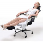 Hbada Ergonomic Office Recliner Chair - High Back Desk Chair Racing Style with Lumbar Support - Height Adjustable Seat Headrest- Breathable Mesh Back - Soft Foam Seat Cushion with Footrest White Office Products B07PB37R7H