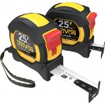 LEXIVON [2-Pack] 25Ft 7.5m DuaLock Tape Measure | 1-Inch Wide Blade with Nylon Coating Matte Finish White & Yellow Dual Sided Rule Print | Ft Inch Fractions Metric Office Products B07MDHW57P