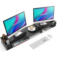 LORYERGO Dual Monitor Stand Riser - 3 Shelf Screen Laptop Stand with Storage Accessories Slots Length and Angle Adjustable Desktop Stand Storage Organizer for Computer Laptop Office Products B08C7F1NWD