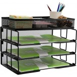 Reliatronic Mesh Office Desk Organizer Stackable File Letter Tray Organizer Perfect for Home Office Black Office Products B07925FBCK