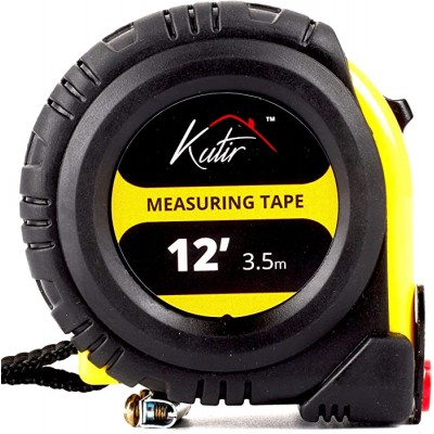 12 Foot Measuring Tape Measure By Kutir - EASY TO READ BOTH SIDE DUAL RULER Retractable Heavy Duty MAGNETIC HOOK Metric Inches and Imperial Measurement SHOCK ABSORBENT Rubber Case - - B07VYS6QZP