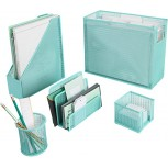 Blu Monaco 5 Piece Cute Office Supplies Aqua Desk Organizer Set - with Desktop Hanging File Organizer Magazine Holder Pen Cup Sticky Note Holder Letter sorter - Aqua Desk Accessories Office Products B07S97RM6L