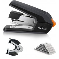 Deli Effortless Desktop Stapler 40-50 Sheet Capacity One Finger Touch Stapling Easy to Load Ergonomic Heavy Duty Stapler Includes 1500 Staples and Staple Remover Office Products B083RSW52B
