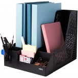 Deli Magazine File Book Holder Desktop Organizer Vertical Folder with Pencil Holder and Storage Baskets for Desk Accessories 3 Compartments Black Office Products B085VSZDMZ
