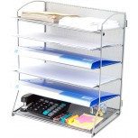 HGmart Mesh Desk Organizer 6 Trays Paper Holder Desktop File Letter Mail Document Sorter for Office or Home Silver Office Products B07VSDVB4J