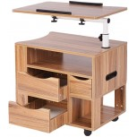 Penck Computer Desk Adjustable Lap Desks Rotary Mobile Wheeled Home Office Furniture 2 Drawers Laptop Desk Writing Side Bed Table with Drawers Portable Apartment Space Saving Compact Desk Small Spaces Office Products B07WGKVQ4L