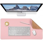 Aelfox Cork & Leather Desk Pad Natural Office Desk Mat Double-Sided Use Waterproof Large Extended Mouse Pad Desk Accessories 31.5 x 15.7 inches Pink Cork Office Products B08CY29R7X