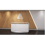 Modern Gloss White Reception Desk 71 with Quartz Stone Counter TOP Office Products B0733DV2LK