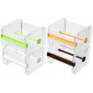 Molshine 4 Pack Transparent Visible Desktop Multi Washi Masking Tape Dispenser Tape Cutter Roll Tape Holder Not Include Masking Tape Beige Green Brown Yellow Office Products B07WQXHWZK
