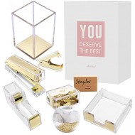 MultiBey Clear Acrylic Desk Organizer 8 in 1 Office Supplies Organization Accessories Set of Rose Gold Paper Clips Pen Holder Stapler Tape Dispenser Sticky Notes Holder Staples Binder Clip Gold Office Products B07ZWBBGDW