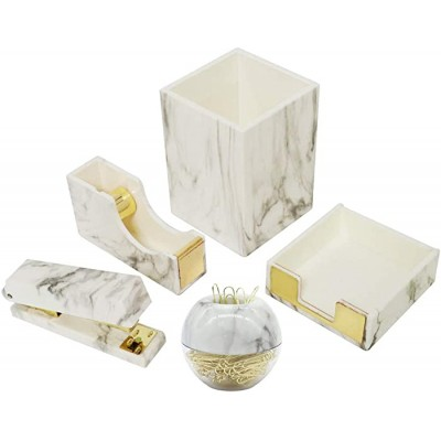 Multibey Marble Office Supplies Desk Organizers 7 in 1 Desktop Organization Accessories Set of Pen Holder Stapler Paper Clips Sticky Notes Pad Holder Tape Dispenser Marble White and Gold Office Products B07T6SMYD1