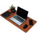 PU Leather Desk Pad Waterproof Desk Mat Mouse Pad for Home Offiee Easy to Clean Brown Office Products B08DNK1QFY
