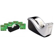 Scotch Brand Magic Tape with Black Dispenser Numerous Applications Invisible 3 4 x 1000 Inches Boxed 6 Rolls 1 Dispenser & Desktop Tape Dispenser Silvertech Two-Tone Black Silver 1 Pack Office Products B08BPQ8HVL
