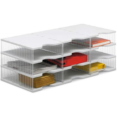 Ultimate Office TierDrop Desktop Organizer Document Forms Mail and Classroom Sorter. 9 Extra Large Crystal Clear Compartments with Optional Add-On Tiers for Easy Expansion! Office Products B07L3Z16G1