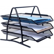 3 Tray Metal Desktop File Organizer 3 Tier File Mesh Organizers Perfect for Home or Office Organization Store Binders Folders Papers Letter Files Books and More Office Products B078G8LD73