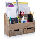 "Besti Vintage Office Organizer - Organizing Tool for Desktop Bathroom Kitchen Vanity Countertop - Vintage Style Rustic Chic Table Caddy - Wood Storage with 6 Compartments 2 Drawers - 14.4x10x6"" Office Products B087QTZTT4"