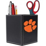 Clemson Leather Desk Caddy Design-1 - Black Office Products B087RS82MS