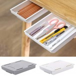 Desk Organizers and Accessories Drawer Novelty Self-Adhesive Pencil Tray Under Desk Storage Box for Home Office Expandable Organization Medium Gray Office Products B08GSKLXV4