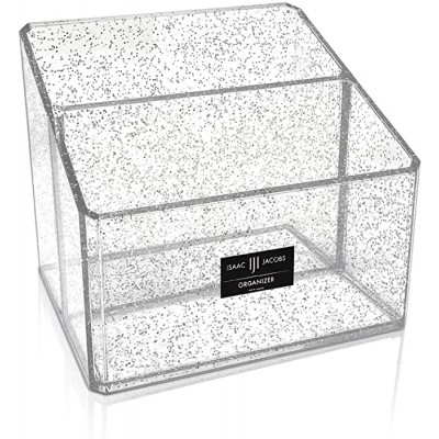Isaac Jacobs Clear Acrylic 2-Section Organizer Remote Holder & Multi-Functional Makeup Brush Pen & Pencil Storage Solution for The Home Bathroom Office Child's Desk 2-Section Silver Glitter Office Products B08GN691Y4
