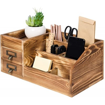 Liry Products Rustic Wooden Desktop Organizer Office Supplies Brown Tabletop Storage Cabinet Stepped Rack Multiple Compartments 2 Tier Drawers Makeup Accessory Jewelry Sorter Display Box Home Office Office Products B07S2N5RM6