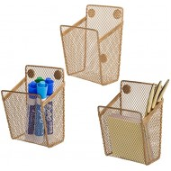 MyGift Antique Gold Tone Metal Mesh Magnetic Office Supply Organizer Baskets Set of 3 Office Products B0828GG3T5