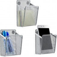 MyGift Silver Wire Mesh Magnetic Storage Baskets Office Supply Organizers Set of 3 Office Products B07VJK1RRT