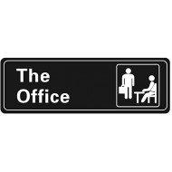 Nakimo The Office Sign Self-Adhesive Sign 9 X 3 Inch Door or Wall Sign Name Plate Acrylic Black and White Office Products B07KR44HGS