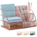 Rose Gold Desk Organizer for Women AUPSEN Mesh Office Supplies Desk Accessories Features 5 Compartments + 1 Mini Sliding Drawer Office Products B07YQ14DN4