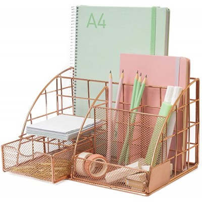 Rosework Rose Gold Desk Organizer - Extra Large All In One Desktop Organizer With More Space For Desk Accessories Includes Pen Holder Pencil Holder Paper Organizer Desk Drawer and More Office Products B0866RSVXV