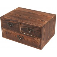 Small Rustic Dark Brown Wood Office Storage Cabinet Jewelry Organizer w 3 Drawers - MyGift Office Products B01G7J5CBY