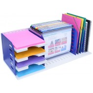 Ultimate Office Desktop Organizer File Sorter Letter Trays and a Hanging File Rack All in One for Fast and Easy Access to All of Your Forms Notebooks Binders Books and Files Gray w Blue Dividers Office Products B07L41FG5S