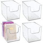 mDesign Plastic Open Front Home Office Storage Bin Container Desk Organizer Tote - for Storing Gel Pens Erasers Tape Pens Pencils Highlighters Markers - 8 Wide 4 Pack - Clear Office Products B07NQTRK6P