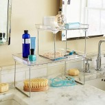 madesmart Clear Stacking Shelf - Medium | CABINET COLLECTION | Organizer for Cabinet or Counter | Collapsible Legs for Storage | Non-slip Rubber Feet | BPA Free Office Products B06X6GHWH1