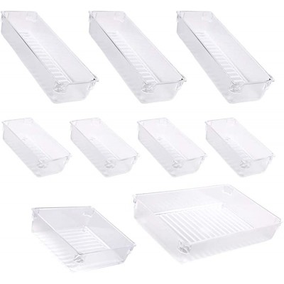 sorliva Clear Plastic Vanity and Desk Drawer Organizers 9 pcs Tray Beauty Organizer Set Plastic Big Organization Storage Bins Divider Container for Dresser Makeup Kitchen Utensil Office Office Products B08CKH4JQ6