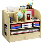 with Drawer Desktop Organizer Multipurpose Large Capacity Wooden Desktop Storage Shelf File Office Supplies Organizer Great for School Office Home-Beige-32.5x22.5x26.5cm13x9x10inch Office Products B08KSQMVHY