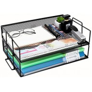 2 Tier Paper Letter Tray Desk Organizer Stackable Desktop Document Organizer Metal Mesh Office Desk Accessories with Bottom Support Frame Horizontal Color Black Size 34x24x13cm Office Products B08JCK8WY8