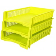 3 Tier File Tray File Holder Stackable Letter Tray Office Storage Rack A4 File Holder Organizer 25038mm Color Green Office Products B07V1N2SLL