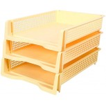 3 Tier File Tray File Holder Stackable Letter Tray Office Storage Rack A4 File Holder Organizer 25038mm Color Yellow Office Products B07V433KFS