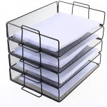 4 Tier Stackable Paper Tray - Metal Mesh Office File Organizer for Desk Printer Letter Teacher Paper Black Color by DeElf Office Products B07G55D3ZS