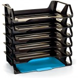 6-Tier Letter Tray Organizer File Document Holder Office Desktop Shorter Rack Self-Stacking Set Home Office Classroom Storage Organization Recycled Plastic Black & eBook by BADA Shop Office Products B079W2HGBC