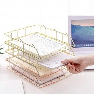 AFDK Letter Tray Organizer for Desk Set of 4 Office Supplies Metal Stackable File Document Letter Sorter Rack Magazine Rack Office Products B08HJ4QR87
