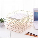 AFDK Magazine Rack Letter Trays 4 Tier Stackable A4 Filing Trays Office Desk Tidy File Document Letter Paper Organiser Rose Gold Office Products B08GH4CZX5