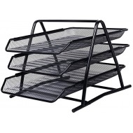 AlfOffice 3 Tier Document Tray Desk Organizer | Stackable File Organizer for Essential Desk Files | Desktop Letter Mail & Paper Holder & Sorter | Sliding Wire Mesh File Tray for Office & Classr Office Products B07DZNWM2G