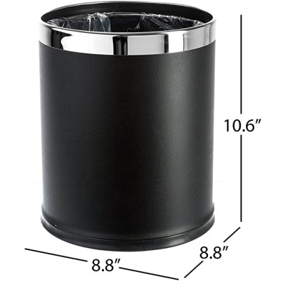 Brelso 'Invisi-Overlap' Open top Leatherette Trash Can Small Office Wastebasket Modern Home Décor Round Shape Black Office Products B00JDOU3GK