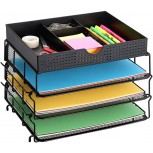 CAXXA 3 Trays Stackable Mesh Letter Tray Desk File Organizer Desktop Paper Tray Holder with Drawer Black Office Products B07KFFRY97