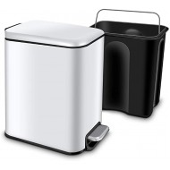 CLTEC Rectangular Slim Trash Can with Lid Soft Close and Removable Inner Wastebasket Small Trash Can for Bathroom Bedroom Office Anti-Fingerprint Matt Finish 5L 1.3Gal White Office Products B088W8HNVK
